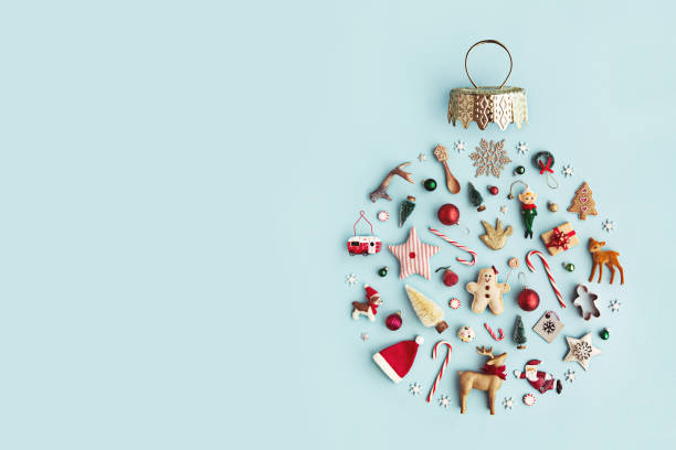 christmas ornament flat lay - christmas stock photos and pictures