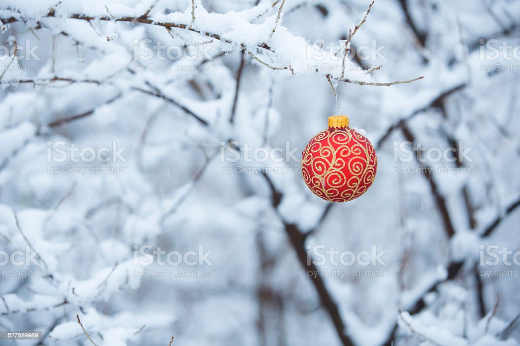 Christmas Ornament in the Snow stock photo