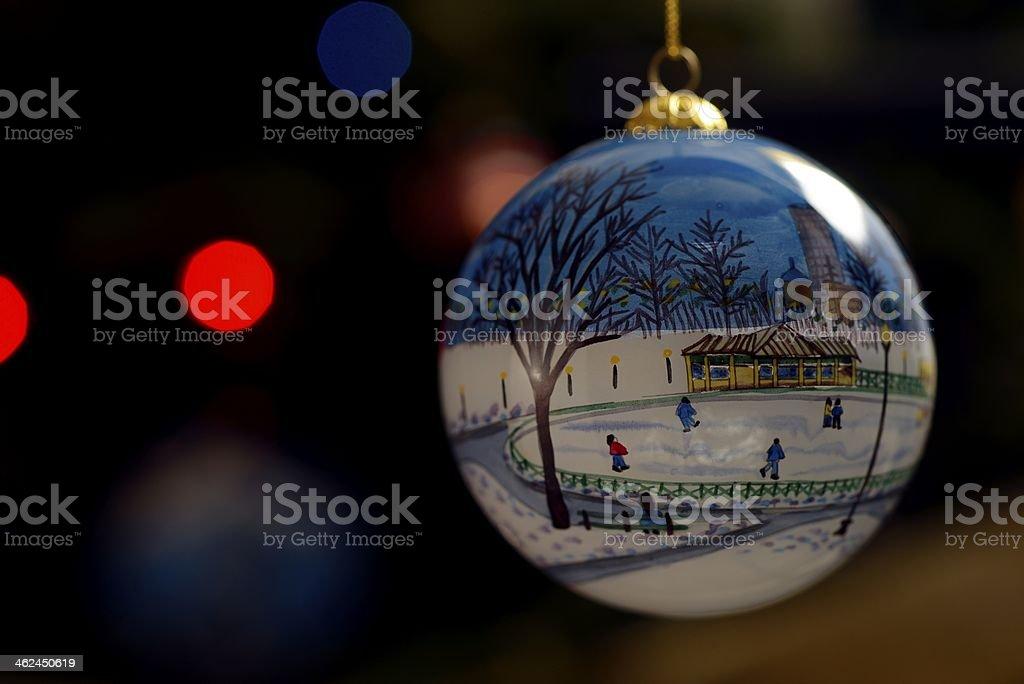 Christmas Ornament of Boston Common stock photo