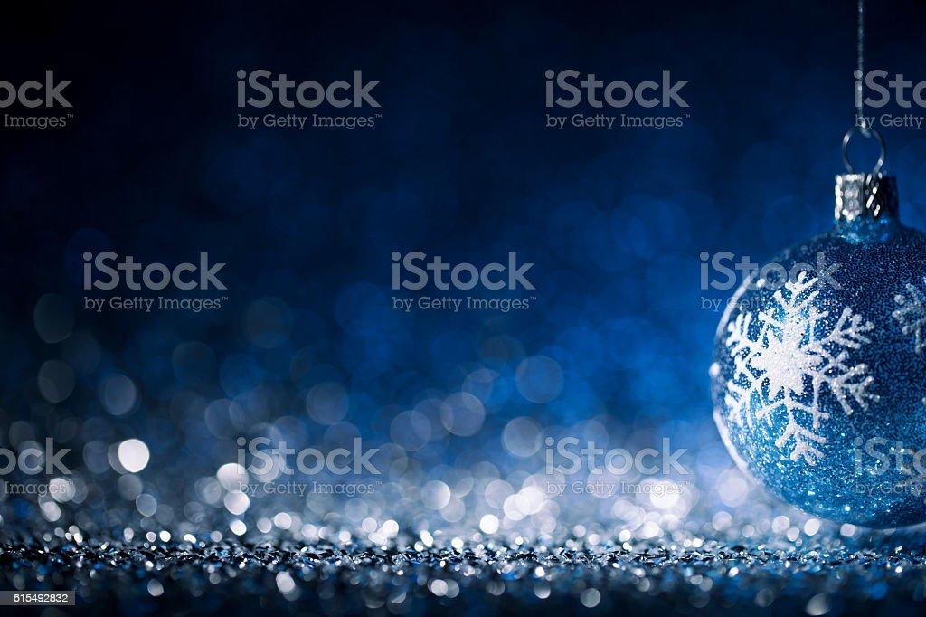 Christmas ornament on defocused lights. Decorations Bokeh Blue White - Photo