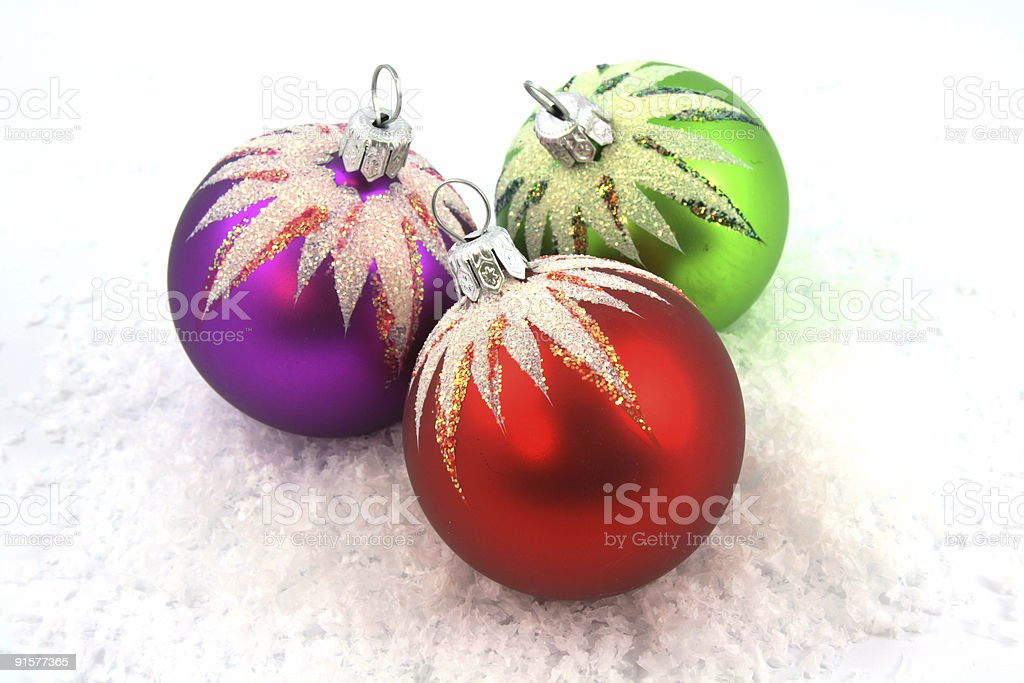 Christmas ornament on fresh show royalty-free stock photo