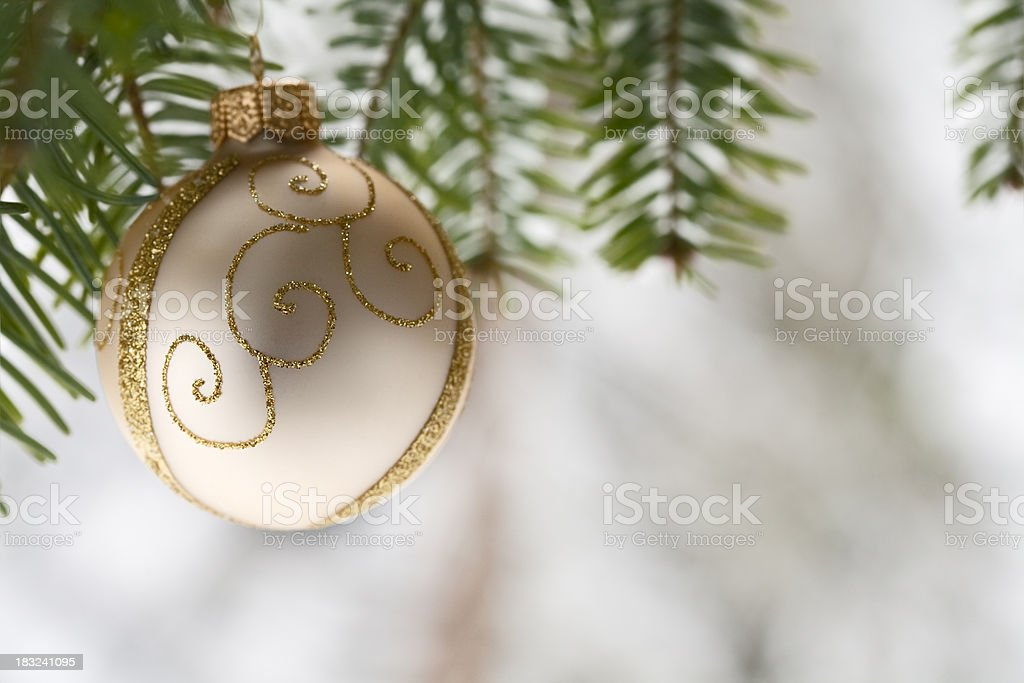 Christmas Ornament on Pine Tree stock photo