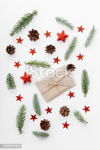 christmas trees and christmas decorations on white background