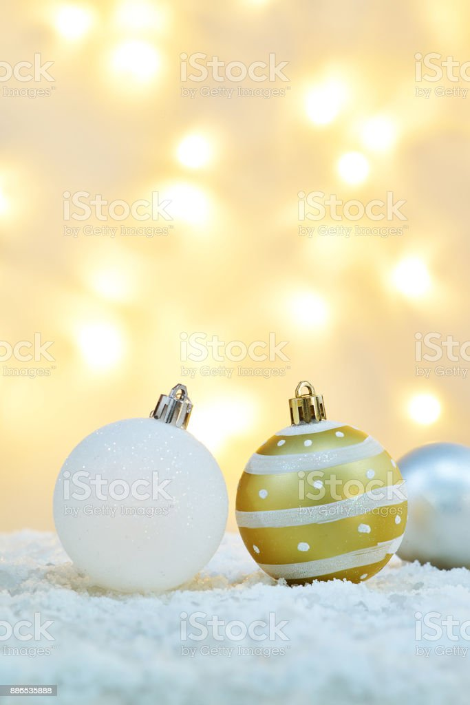 christmas ornament with defocused  light background stock photo