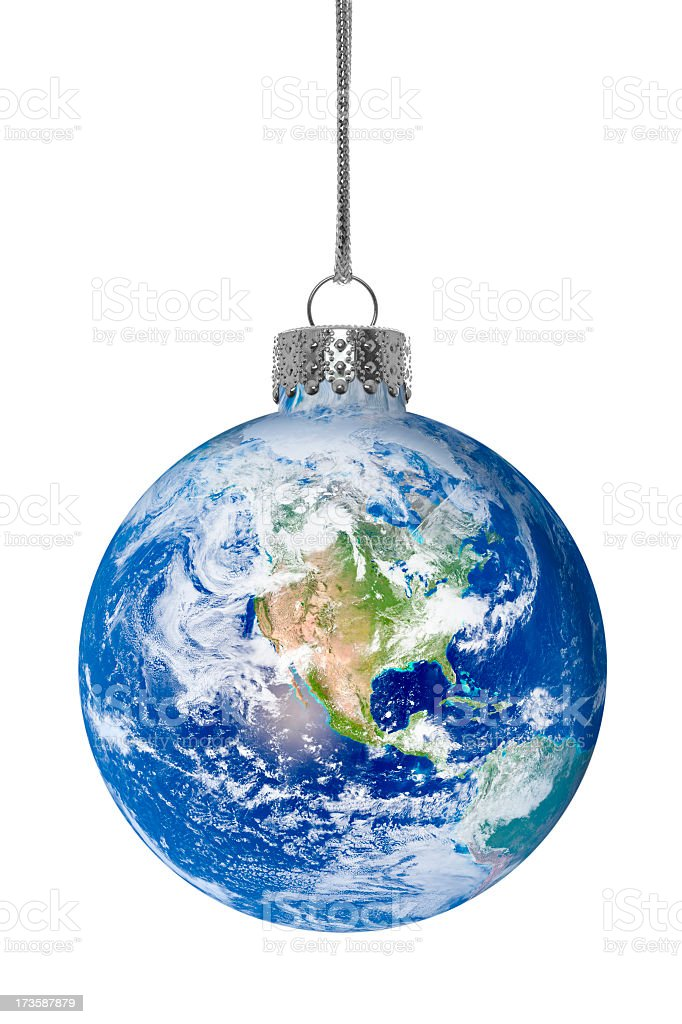 Christmas ornament with earth globe as the glass ball royalty-free stock photo