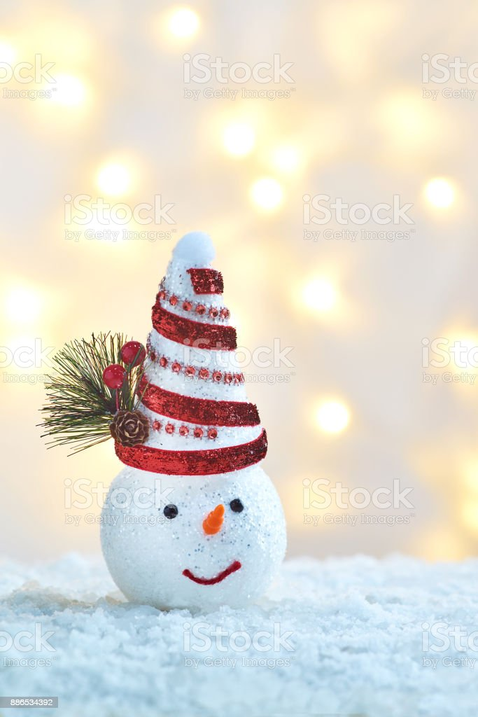 christmas ornament with snow man stock photo