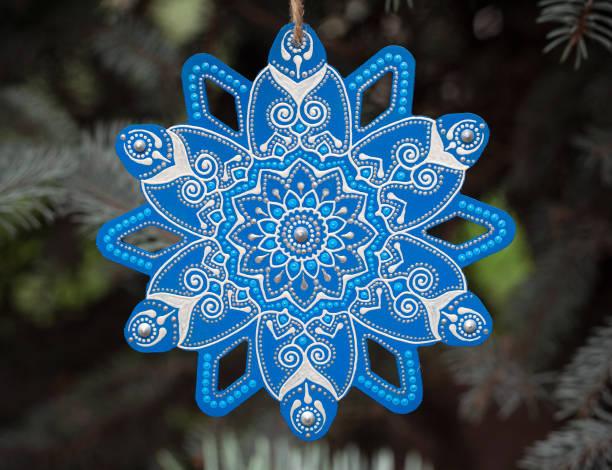 Christmas ornamental snowflake stock photo
