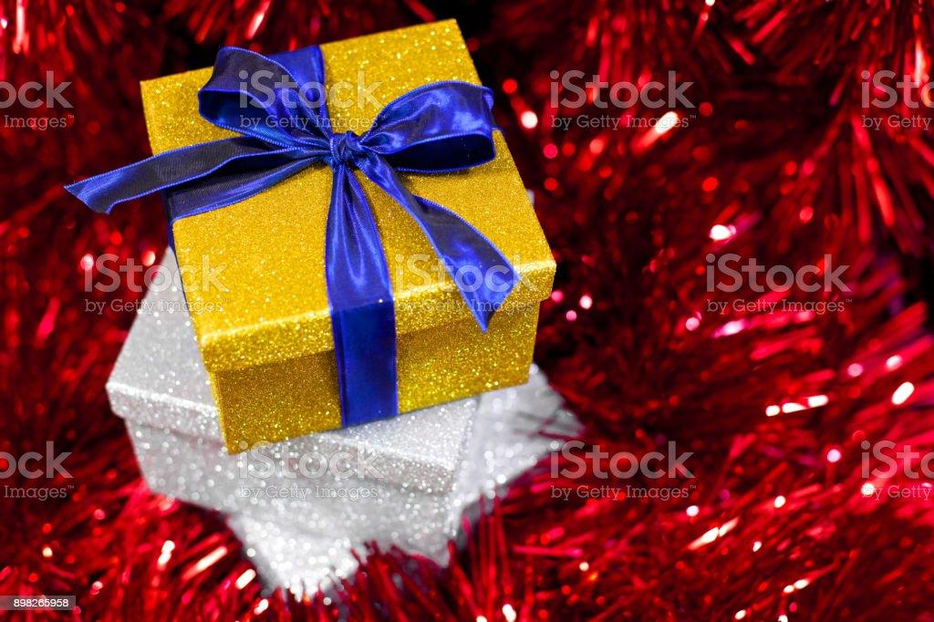 Christmas ornaments and gift box stock photo