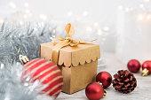 istock Christmas Ornaments And Gift With Christmas Lights 1072354130