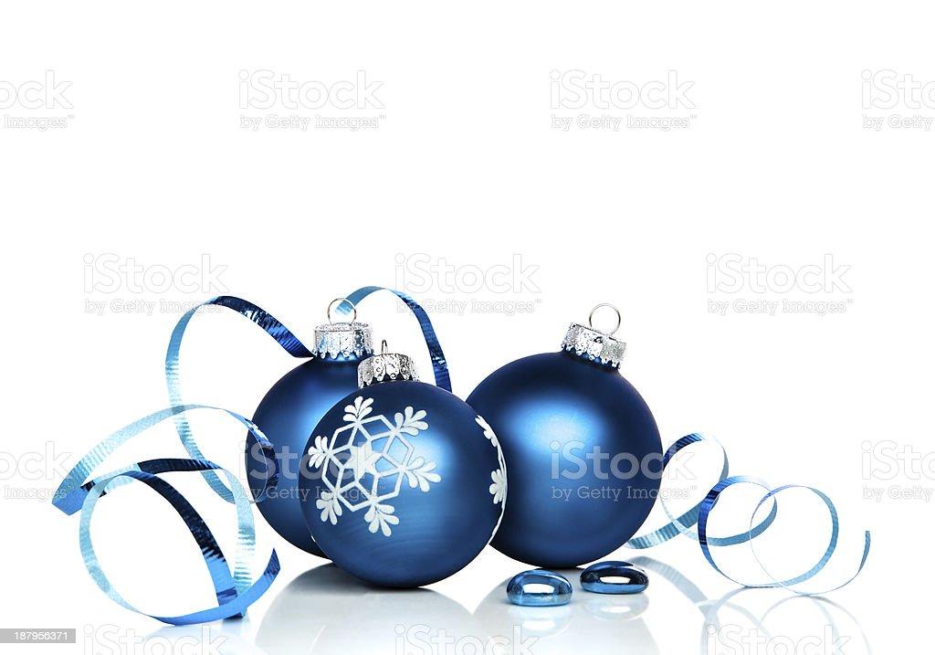 Christmas ornaments and ribbon stock photo