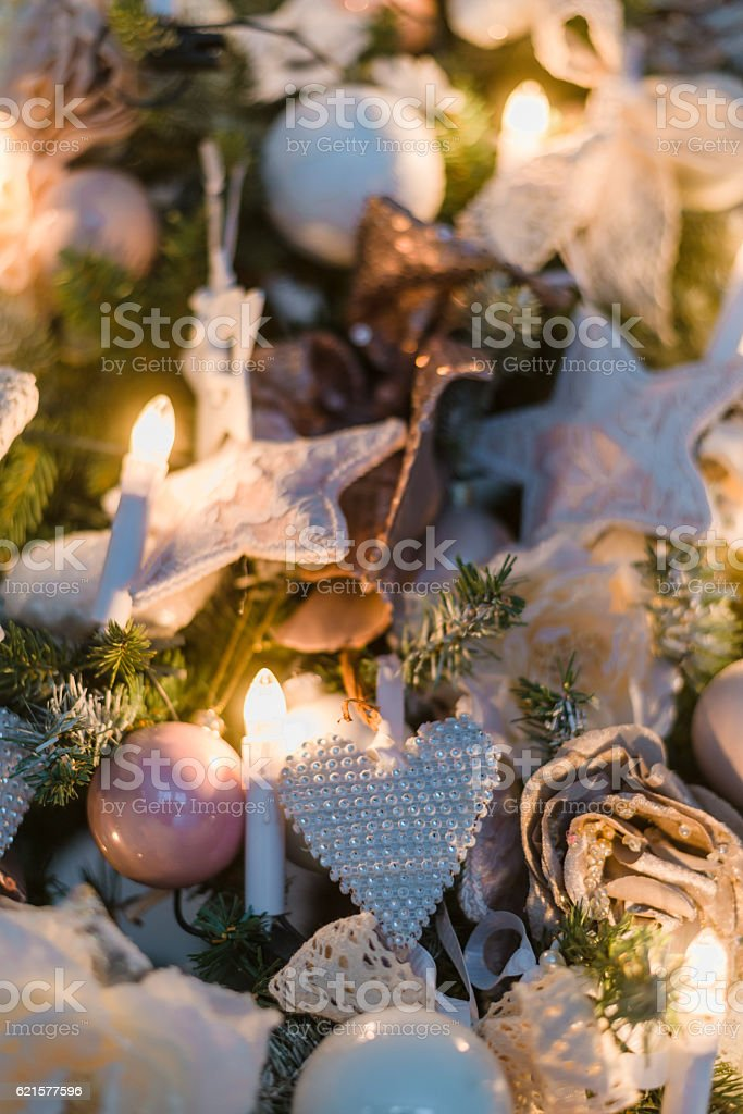 Christmas ornaments are decorations usually made of glass, metal, wood photo libre de droits