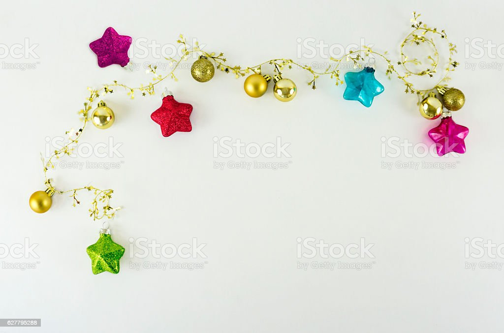 Christmas ornaments background with space for copy stock photo