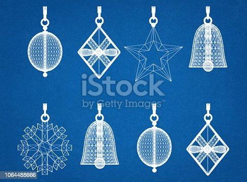 istock Christmas Ornaments Blueprint 1064488666