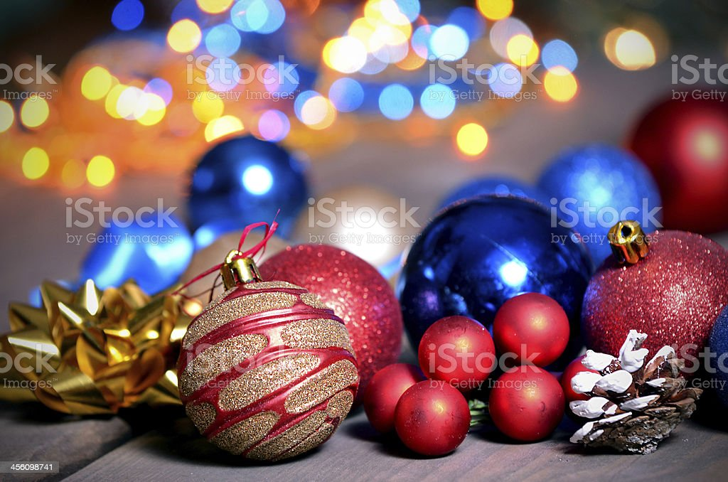 Christmas ornaments, Christmas decoration with baubles, lights and gifts stock photo