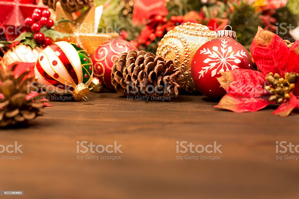 Christmas ornaments, decorations ready for holiday season. stock photo