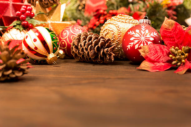 christmas ornaments, decorations ready for holiday season. - christmas decoration stock photos and pictures