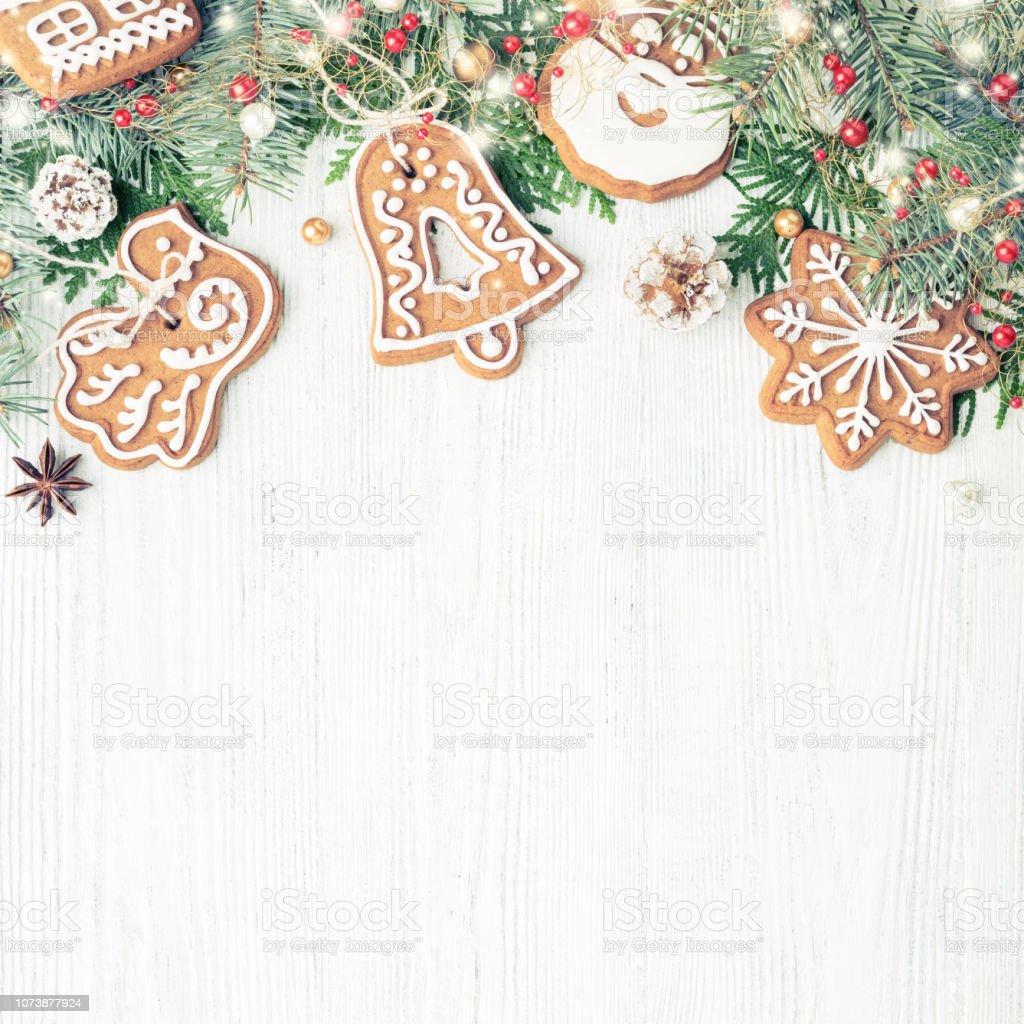 Arbre Bois Blanc Decoration photo libre de droit de ornements de noël cadre biscuits