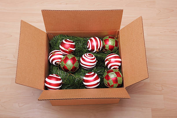 Christmas ornaments in a box stock photo