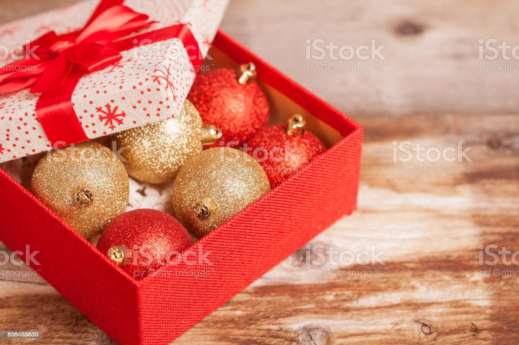 Christmas ornaments in giftbox stock photo