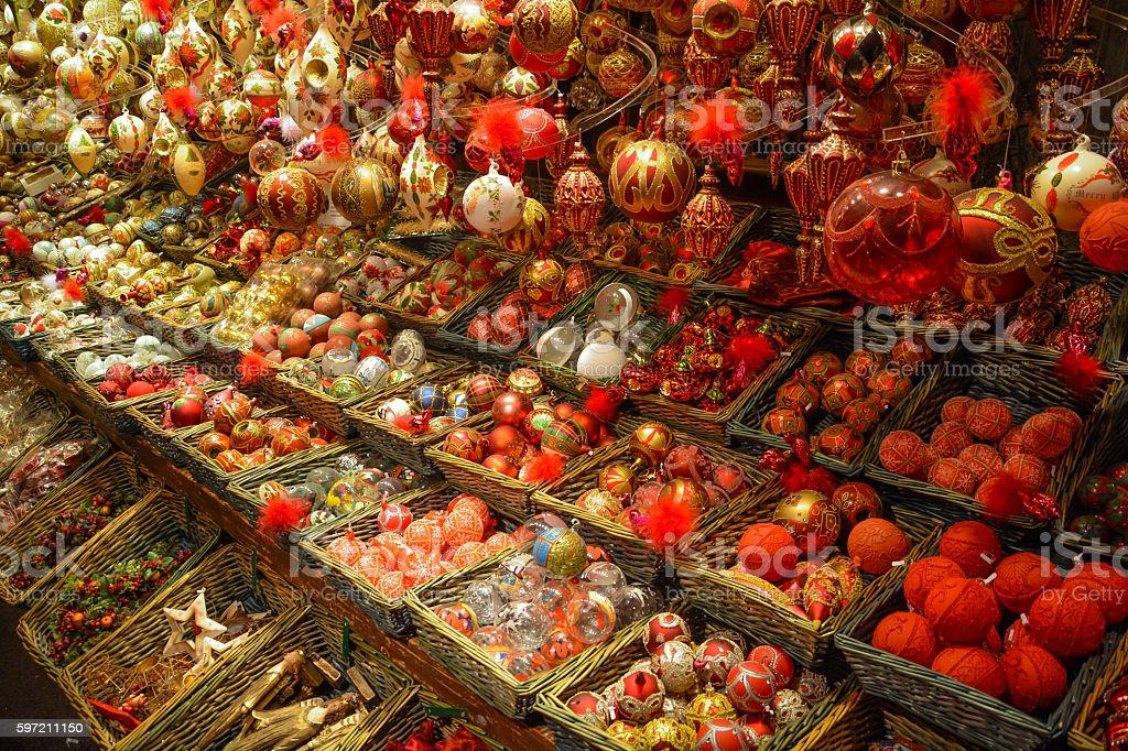 Christmas ornaments in Wien Rathaus market, Austria stock photo