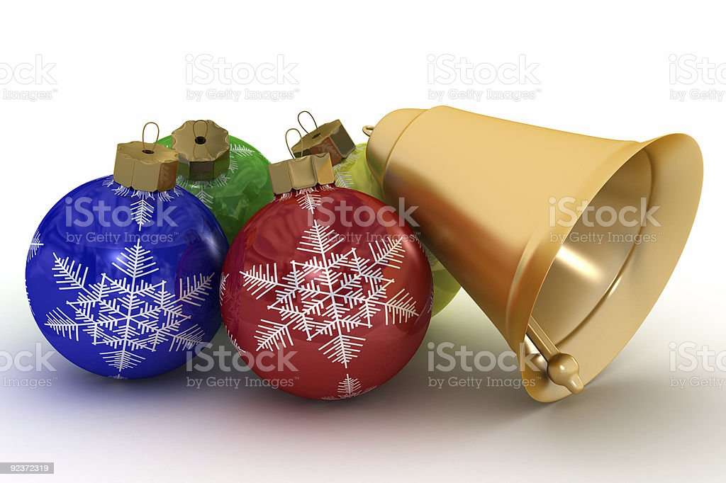 Christmas ornaments on a white background. 3D image. royalty-free stock photo