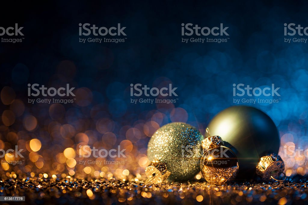 christmas ornaments on defocused lights decorations bokeh blue gold royalty free stock photo - Blue And Gold Christmas Decorations