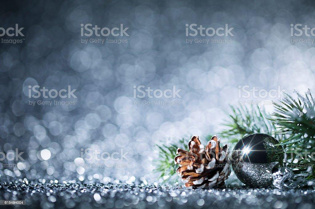Christmas ornaments on defocused lights. Decorations Bokeh stock photo
