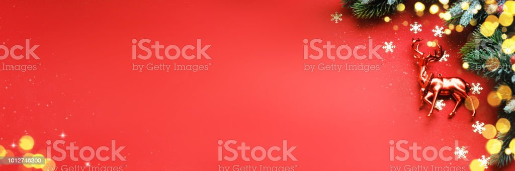 Christmas Ornaments On Red Background Border Design Top View Stock Photo Download Image Now