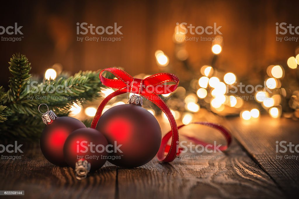 Christmas Ornaments on Wood Background stock photo
