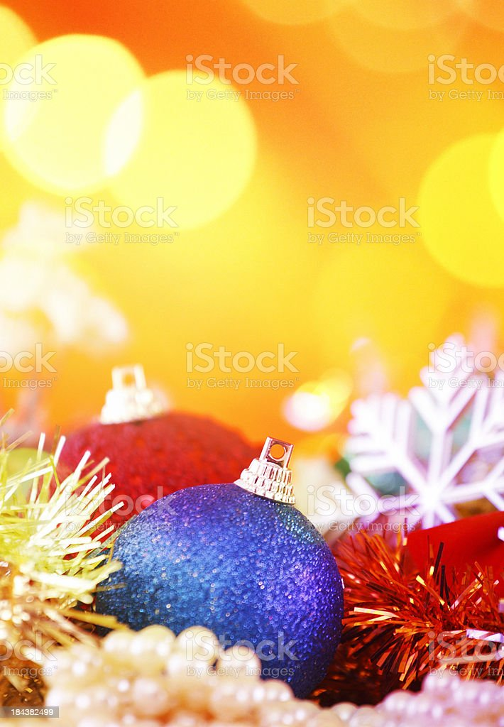 Christmas ornaments with copy space. stock photo