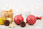istock Christmas Ornaments With Shiny Background 1072535412