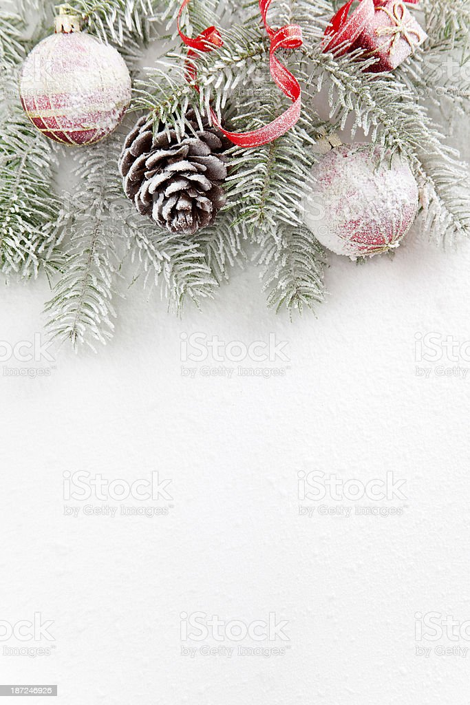 Christmas ornaments with snow royalty-free stock photo