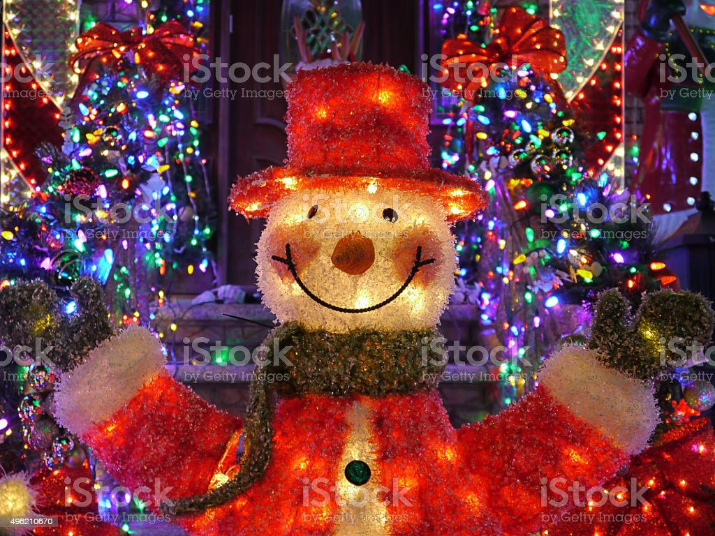 Christmas Outdoor Christmas Decorations Snowman Lights Up House Stock Photo Download Image Now Istock