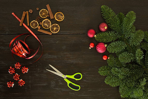 christmas packaging on table stock photo