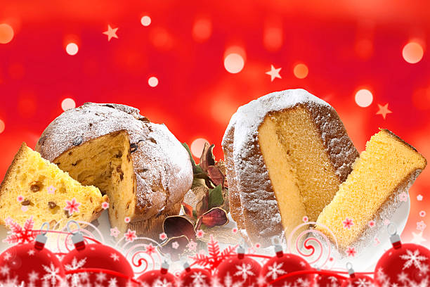 christmas, panettone and pandoro on red - panettone foto e immagini stock