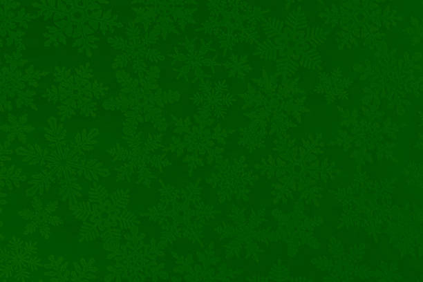 christmas paper texture background with green and white snowflakes - christmas green stock photos and pictures