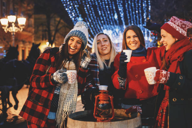 christmas parties are the best with friends - mulled wine stock photos and pictures
