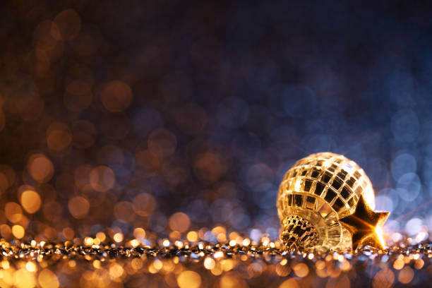 Christmas Party - Blue Gold Decoration Defocused Bokeh Background stock photo