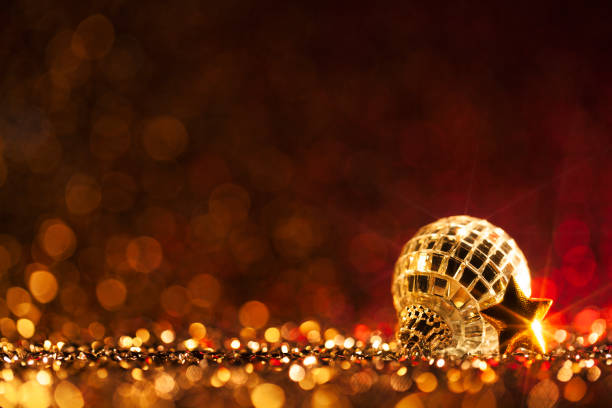 Christmas Party - Red Decoration Defocused Bokeh Background stock photo