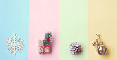 Christmas, pastel color paper, gift box, golden ball, pine cone and snowflake