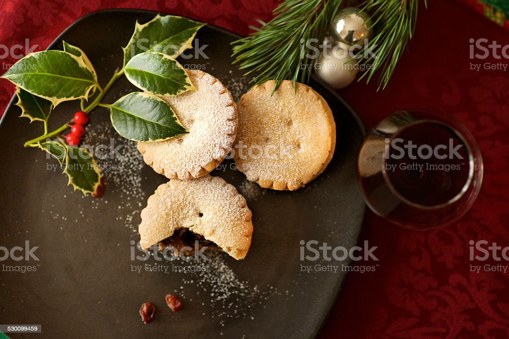 Christmas pastry mince pie and mulled wine stock photo