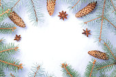 istock Christmas pattern with fir branches, fir cones and anise. Blank for holiday cards. Christmas branches on white background. Copy space 1060225012