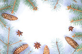 istock Christmas pattern with fir branches, fir cones and anise. Blank for holiday cards. Christmas branches on white background. Copy space 1060225028