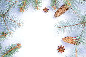 istock Christmas pattern with fir branches, fir cones and anise. Blank for holiday cards. Christmas branches on white background. Copy space 1060225072