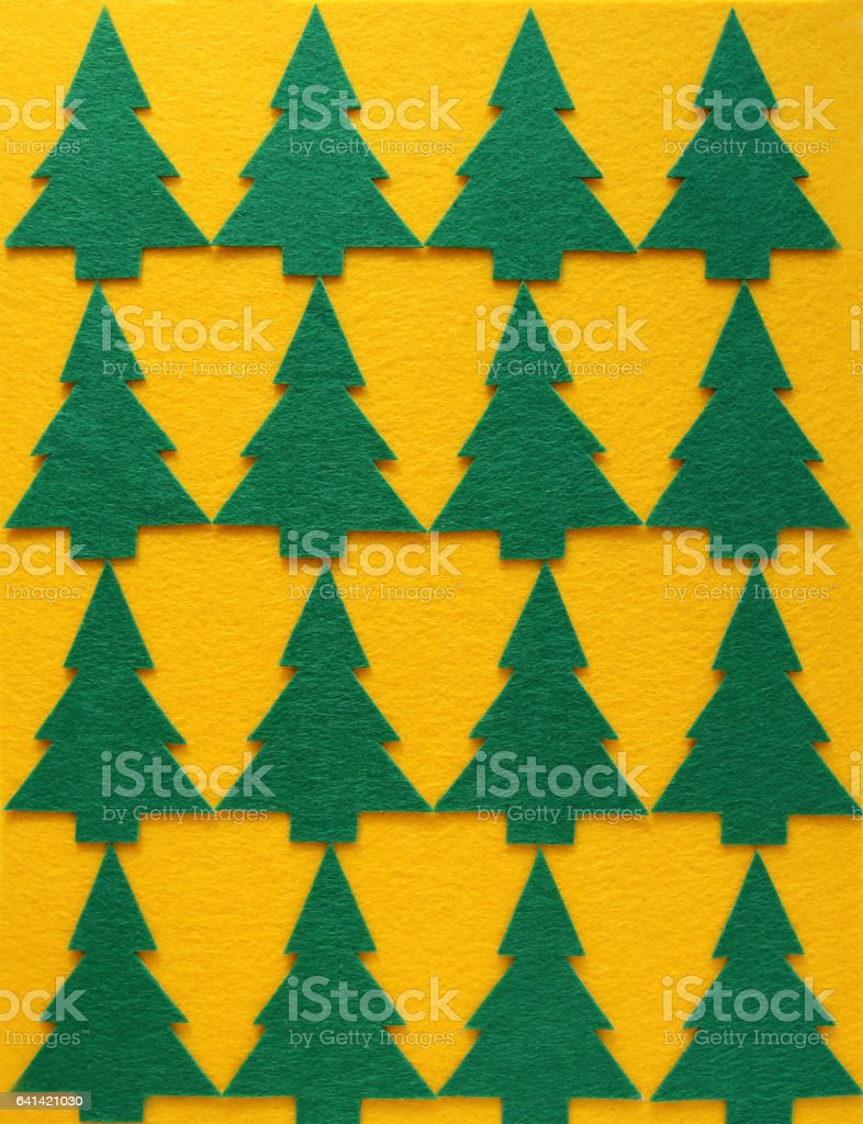 Felt Christmas Tree Pattern.Christmas Pattern With Green Felt Christmas Trees On Yellow