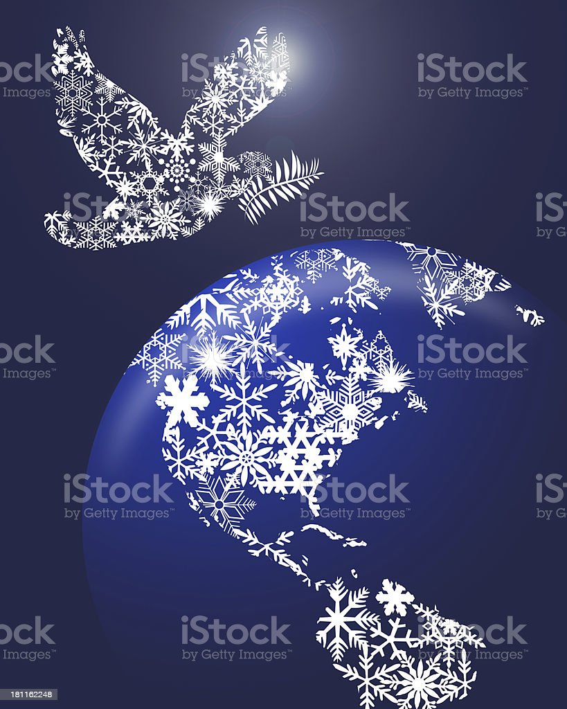 Christmas Peace Dove On Earth royalty-free stock photo