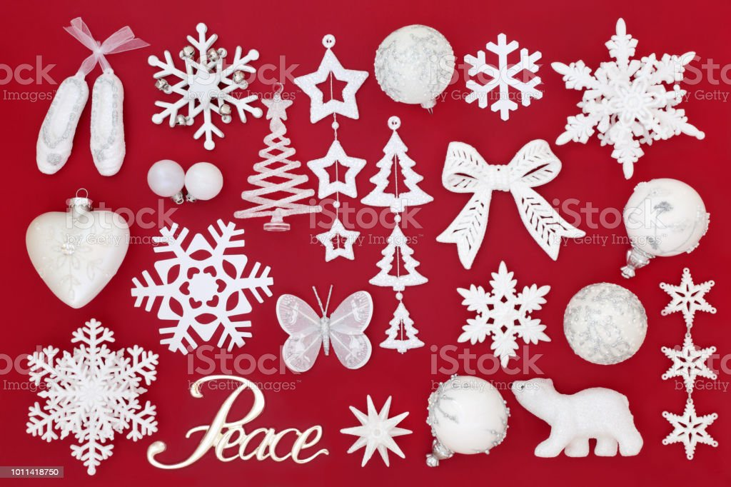 Peace Christmas Sign.Christmas Peace Sign And Decorations Stock Photo Download