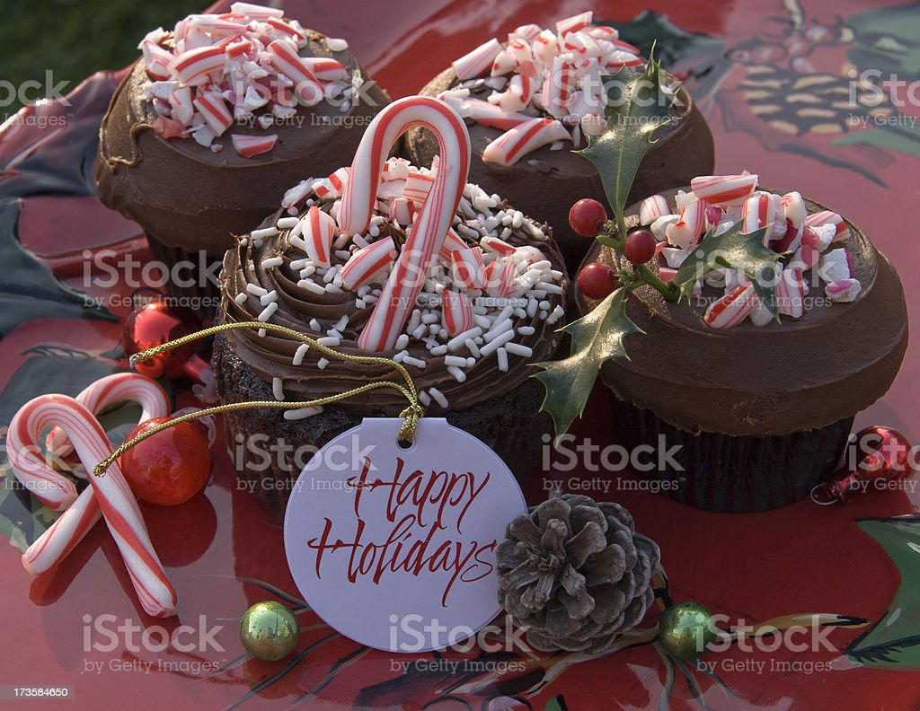 Christmas Peppermint Candy Cane Chocolate Cupcakes, Homemade Holiday Dessert Food royalty-free stock photo
