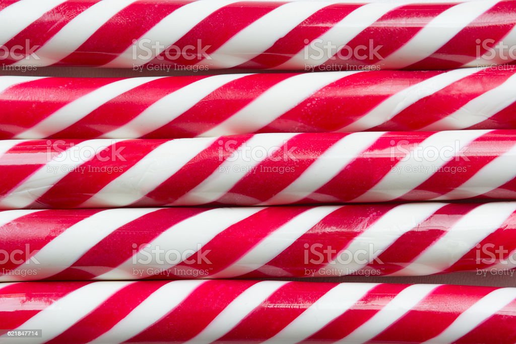 Christmas peppermint candy cane close up. Top view. Background. stock photo
