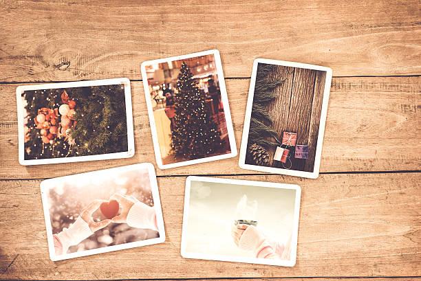 weihnachten-foto - foto collage geschenk stock-fotos und bilder